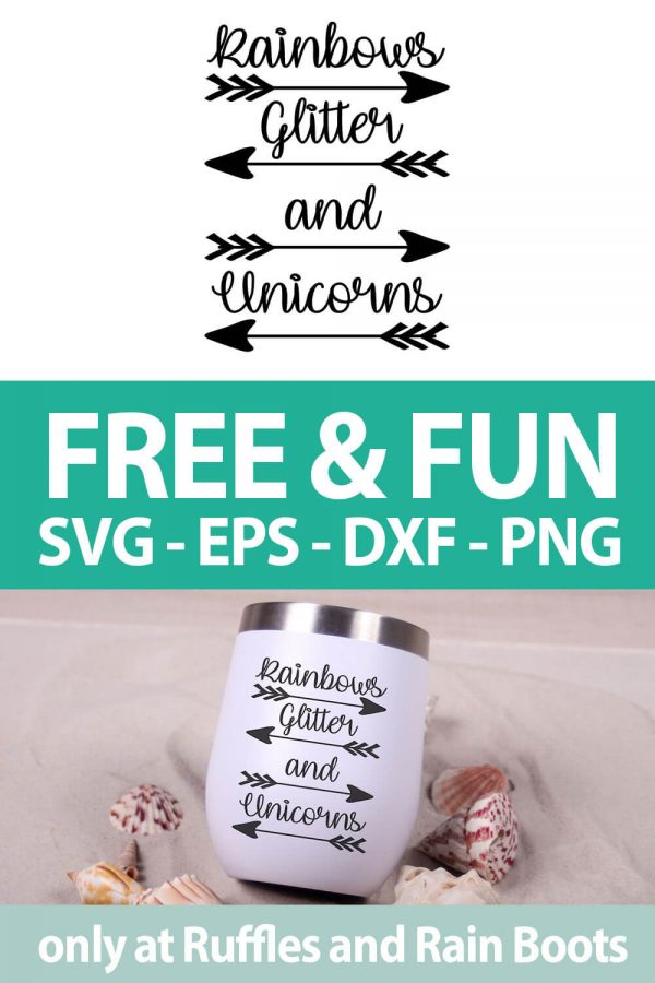 photo collage of rainbows glitter and unicorns cut file with text which reads free & fun svg eps dxf png