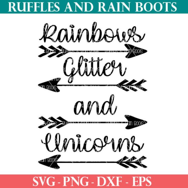 rainbows glitter and unicorns cut file with arrows