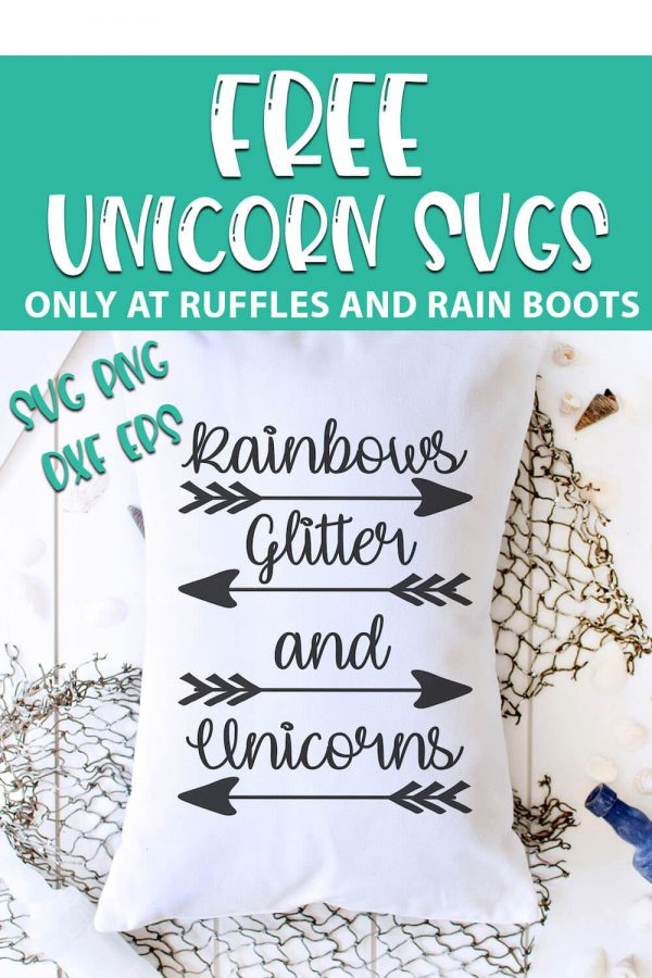 overhead view of rainbow glitter and unicorns cut file on a pillow laying on a wood board with a net with text which reads free unicorn svgs svg png dxf eps