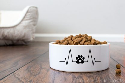 full dog food bowl on wooden floor with a dog paw heartbeat cut file in vinyl