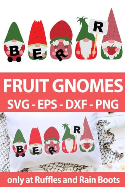 photo collage of Strawberry Gnome SVGs For cricut crafts with text which reads fruit gnomes svg eps dxf png