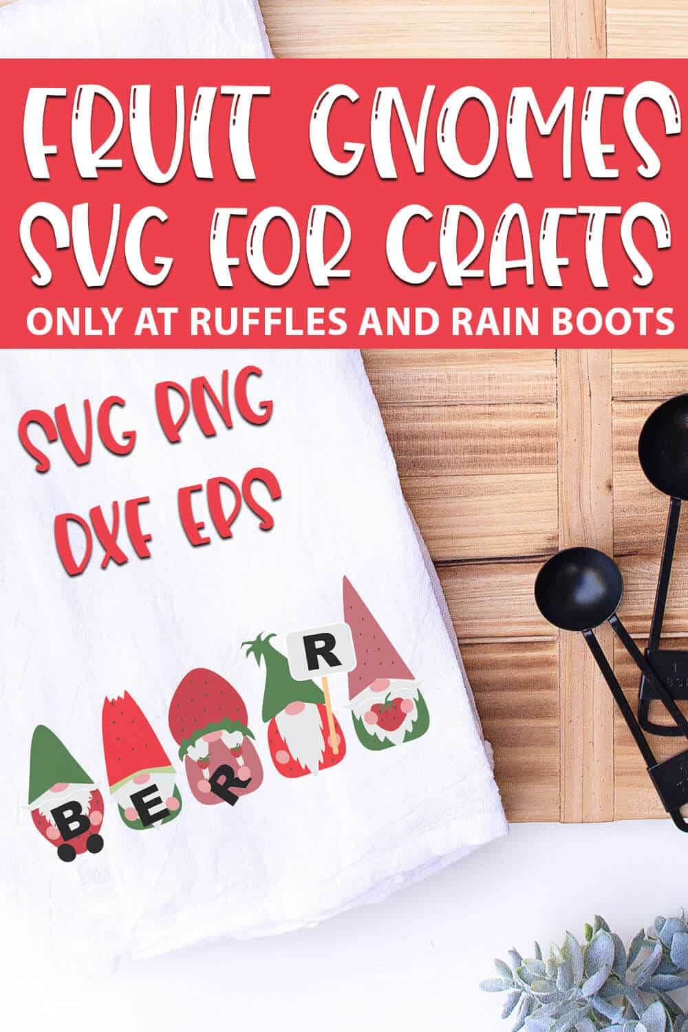 Strawberry Gnome SVGs for farmhouse crafts with text which reads fruit gnomes svg for crafts svg png dxf eps