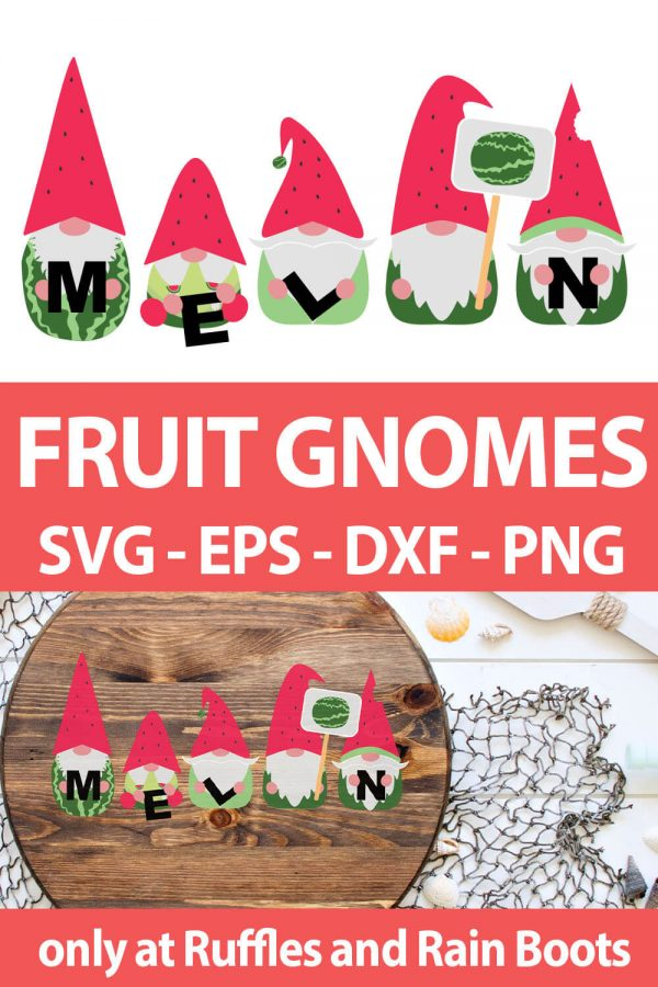 photo collage of Watermelon Gnome sublimation designs with text which reads fruit gnomes svg eps dxf png