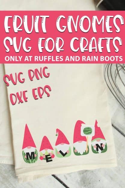 Watermelon Gnome SVGs for farmhouse crafts with text which reads fruit gnomes svg for crafts svg png dxf eps