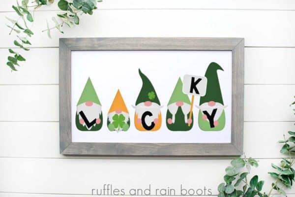 St Patricks Day gnomes cut file set on white wood frame on white background