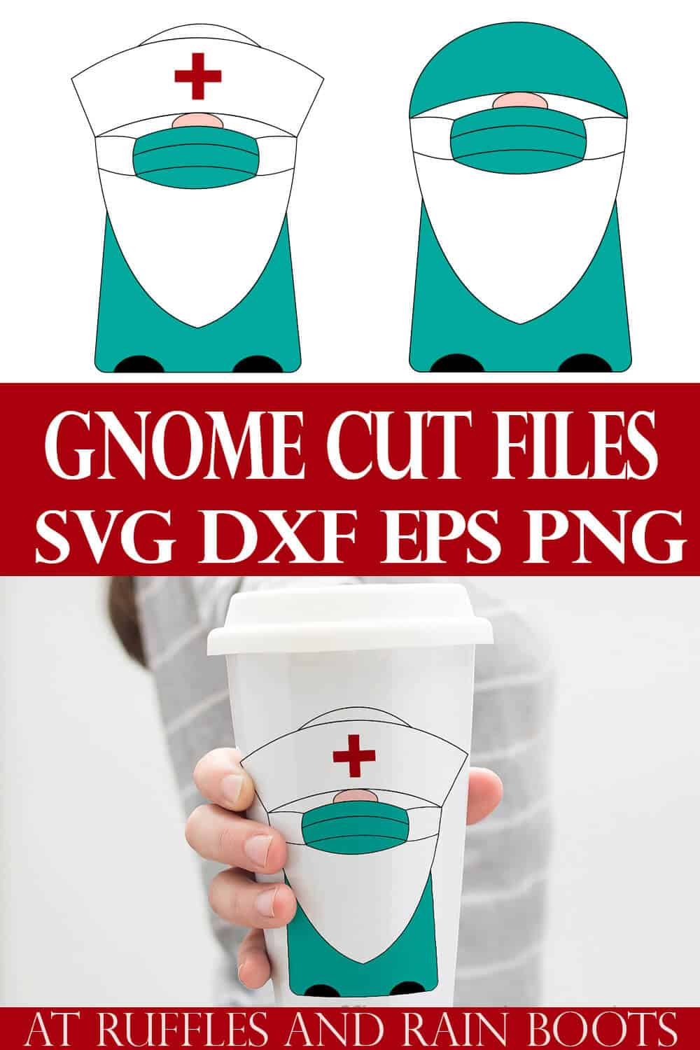 collage of doctor nurse medical gnome svg on a white tumbler cup held by a woman in a gray shirt