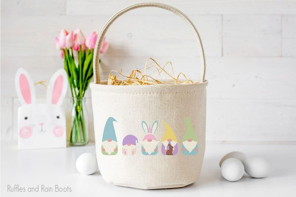 Easter Gnome designs for sublimation on an easter basket