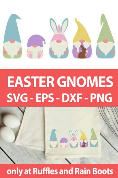photo collage of Easter Gnome cut file set for cricut or silhouette with text which reads easter gnomes svg eps dxf png