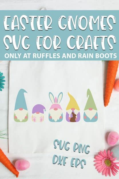 Easter Gnome SVGs For easter cricut crafts with text which reads easter gnomes svg for crafts svg png dxf eps