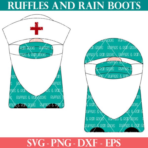 doctor nurse medical gnome svg set on white background