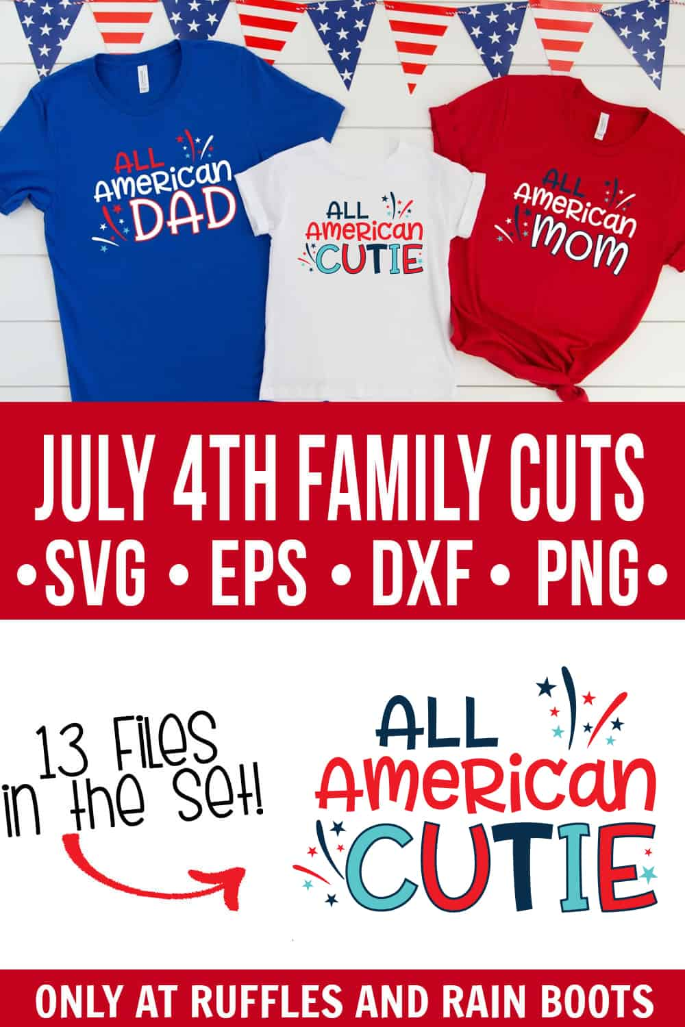 photo collage of All American SVG files for 4th of July with three red white and blue t shirts for clipart