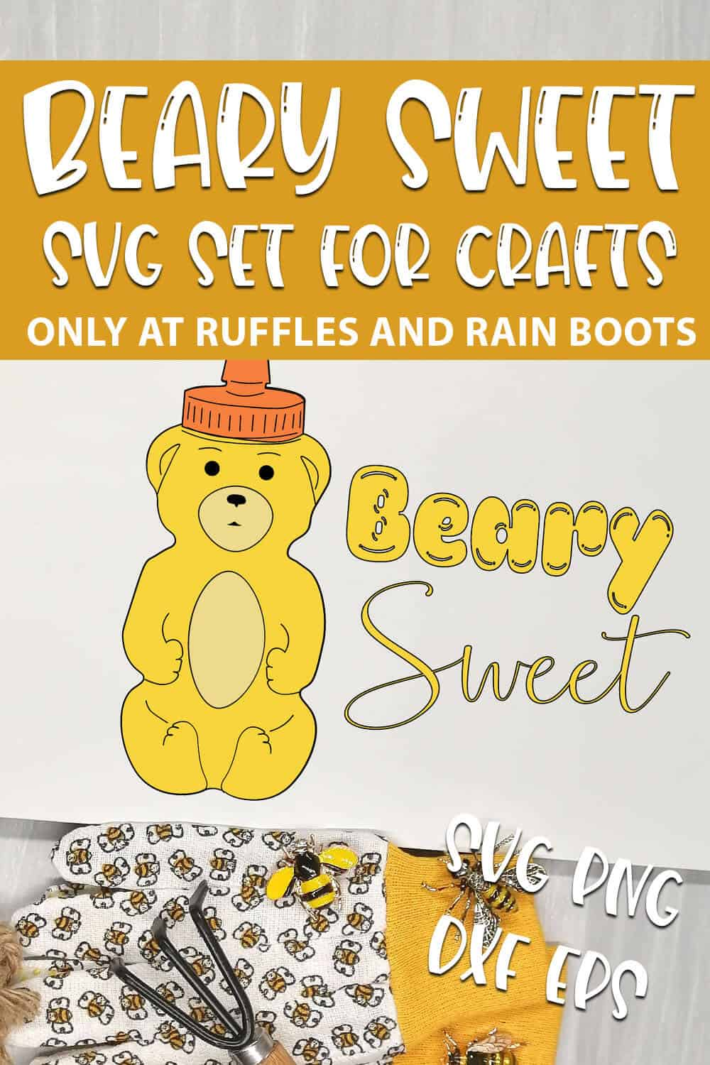 Beary Sweet cut file for cricut or silhouette with text which reads beary sweet svg set for crafts svg png dxf eps