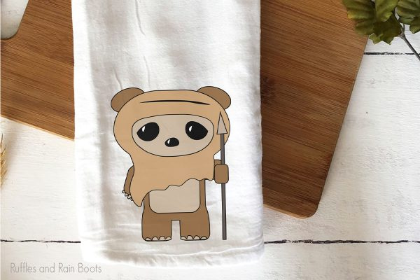 Star Wars Ewok SVG set on a tea towel