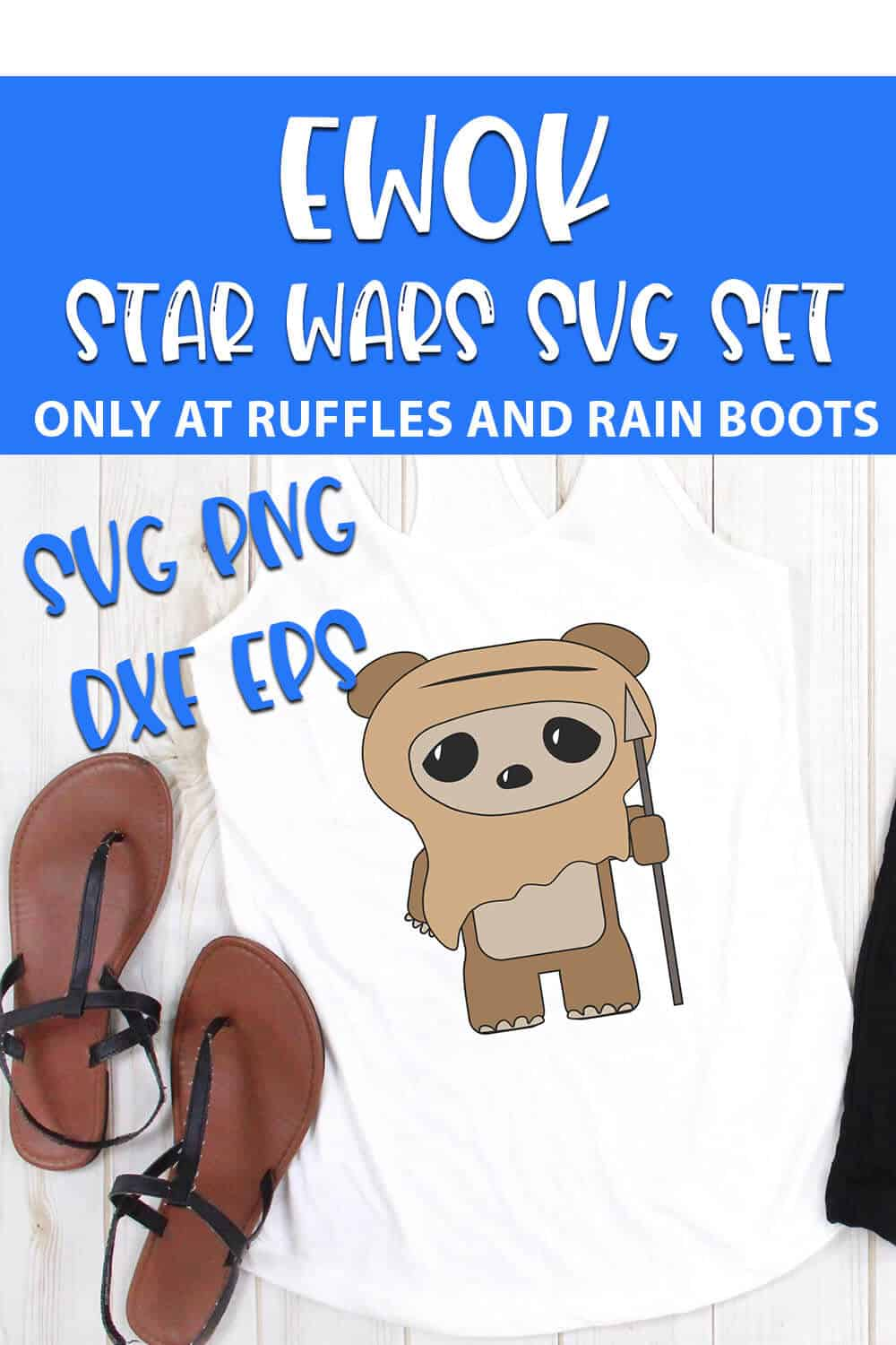 star wars inspired ewok svg set with text which reads ewok star wars svg set on a tank top