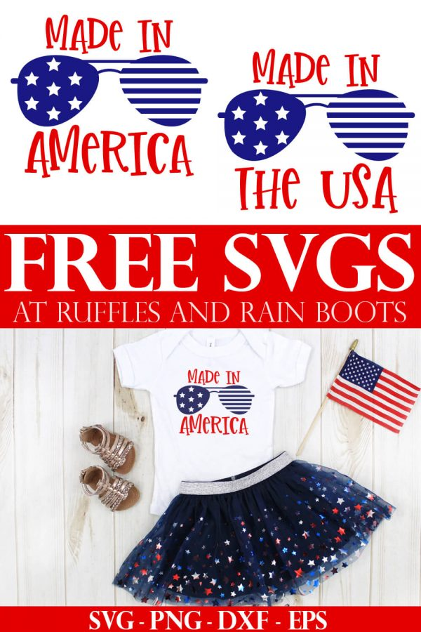 collage of free july 4th svg files for made in america and made in the usa on white t shirt and patriotic background