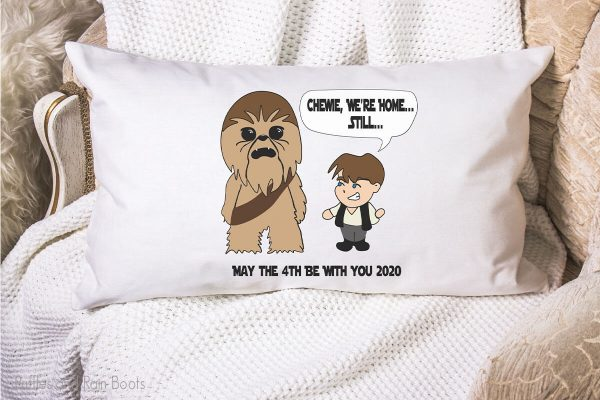 star wars inspired han and chewie SVG set on a pillow