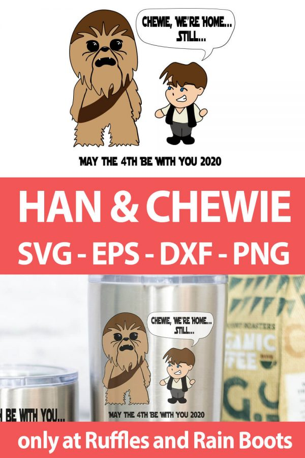 photo collage of star wars inspired han solo and chewbacca svg set