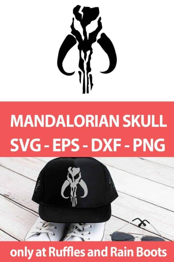 photo collage of mandalorian skull svg set with text which reads mandalorian skull svg eps dxf png