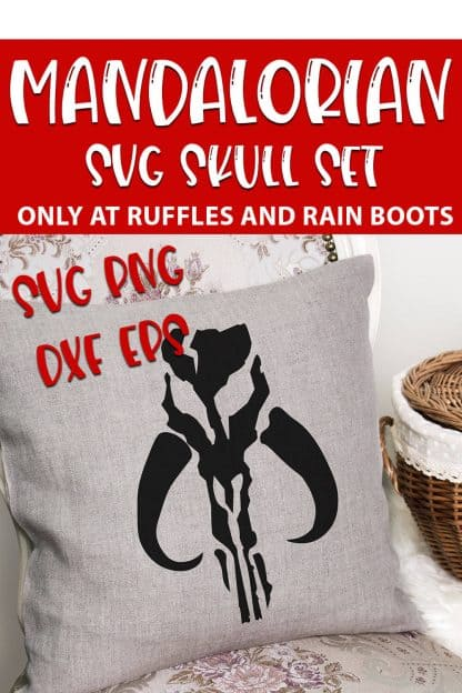 Mandalorian Skull SVG on a pillow with text which reads mandalorian svg skull set