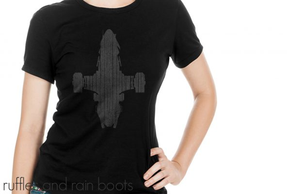 gray distressed vinyl on black t shirt using free serenity svg ship from firefly on white background