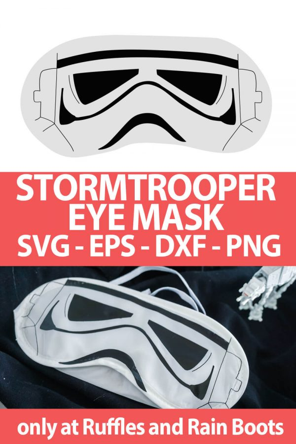 photo collage of Stormtrooper mask cut file for star wars crafts with text which reads stormtrooper eye mask svg eps dxf png