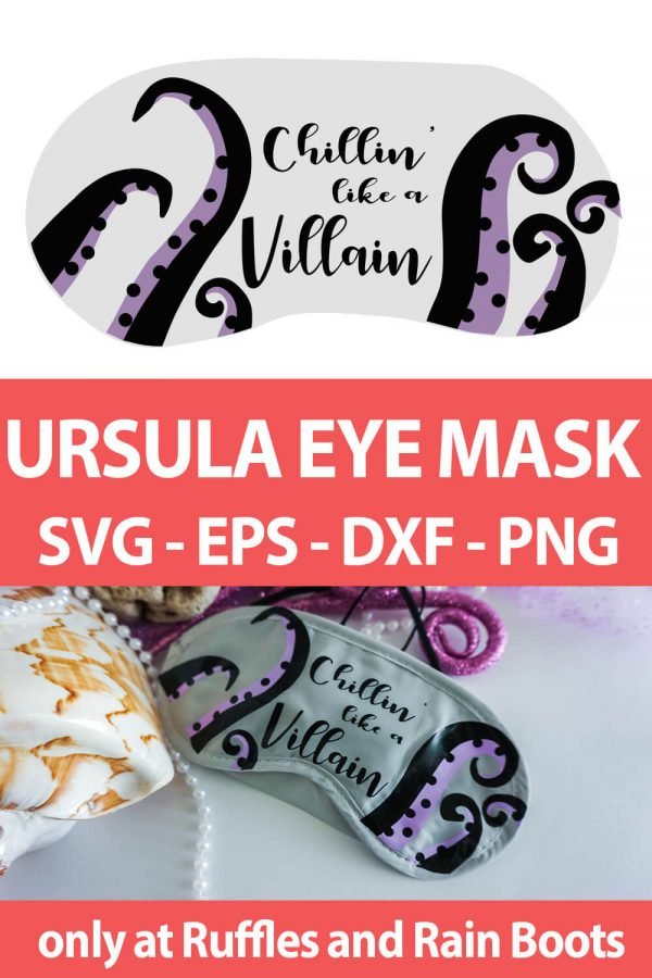 photo collage of Ursula mask design for sublimation or vinyl with text which reads ursula eye mask svg eps dxf png