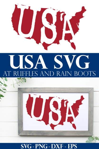 red weathered usa svg on white and wood frame on white wood background with text which reads USA SVG