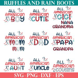 collage of 13 4th of July svg files for the all american family series