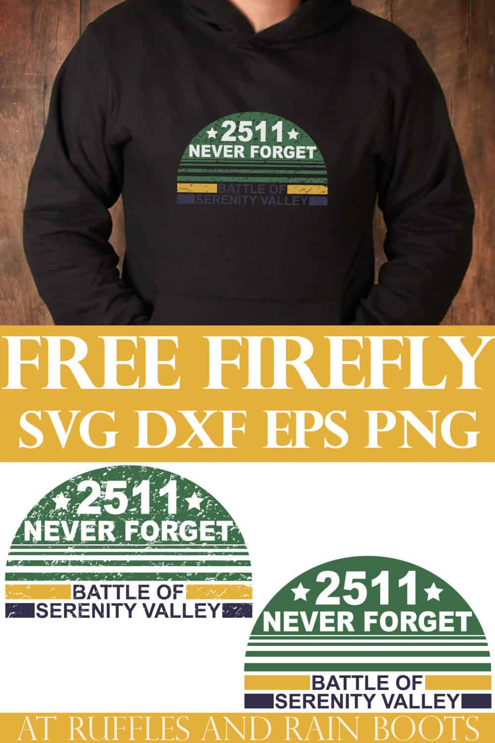 photo collage of man in black hoodie with battle of serenity svg with text which reads free firefly svg dxf eps png