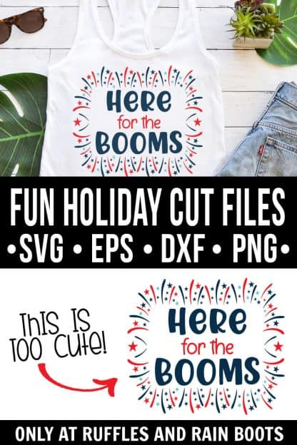photo collage of here for the booms svg file on a white tank top with text which reads fun holiday cut files