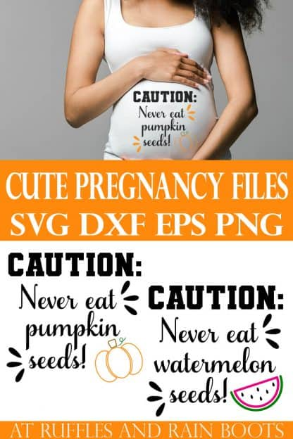 collage of woman holding belly in white tank top with caution never eat pumpkin seeds svg file in vinyl
