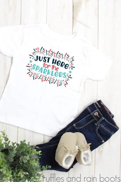 adorable July 4th t shirt made with just here for the sparklers svg from ruffles and rain boots