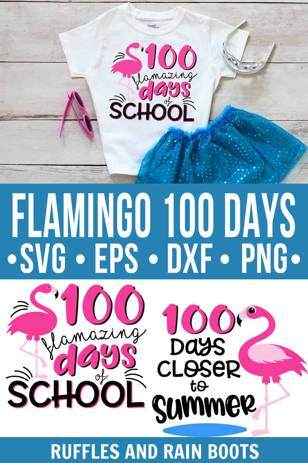 photo collage of 100 Days of School Flamingo cut file bundle for Cricut Silhouette with text which reads flamingo 100 days svg eps dxf png
