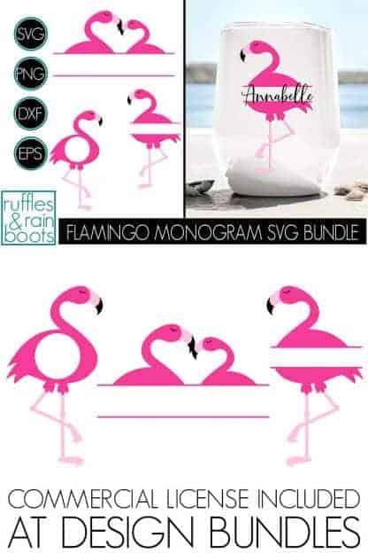 FLAMINGO MONOGRAM BUNDLE OF SVG CUT FILE CLIPART