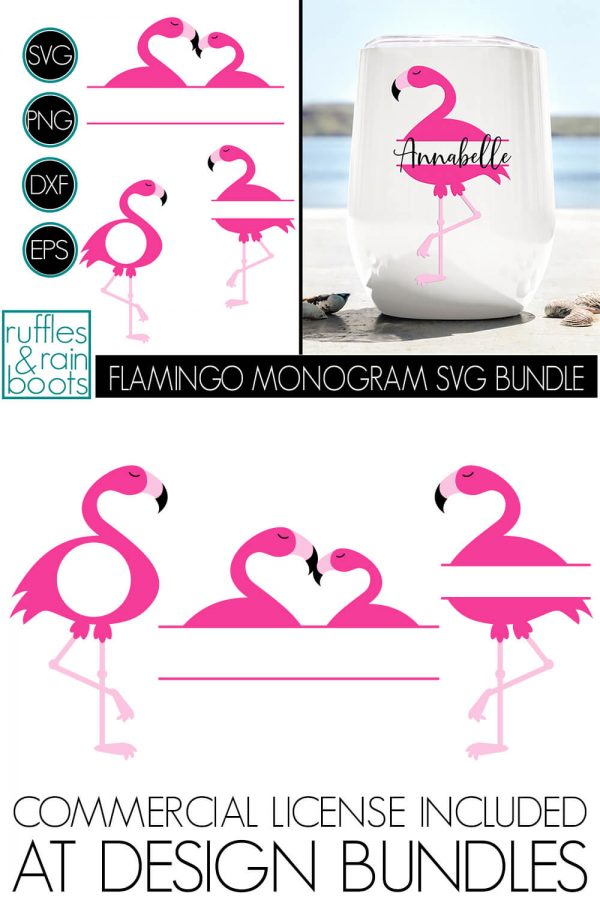 FLAMINGO MONOGRAM BUNDLE OF SVG CUT FILE CLIPART