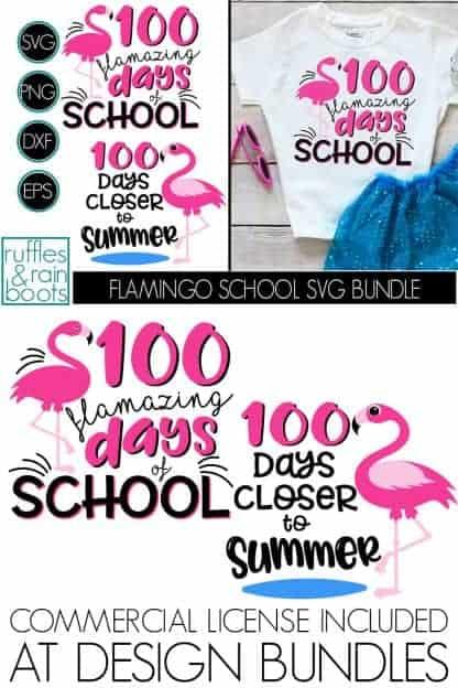 photo collage of FUN 100 DAYS OF SCHOOL FLAMINGO SVG FLAMZING DAYS OF SCHOOL CUT FILE SET