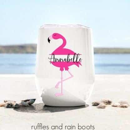 Flamingo monogram on cup on beach fun cricut project for summer