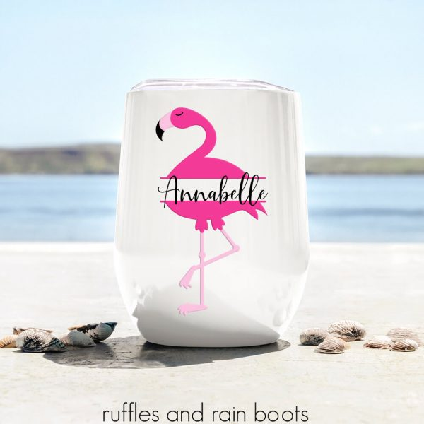 Flamingo monogram on cup on beach fun cricut project for summer