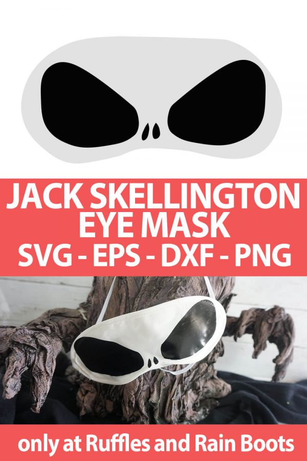 photo collage of Jack Skellington cut file for making disney crafts with text which reads jack skellington eye mask svg eps dxf png