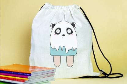 backpack featuring a popsicle Panda SVG For cutting machines sitting on a table with notebooks