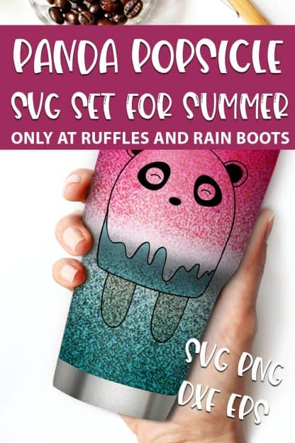 Panda Popsicle files For sublimation with text which reads panda popsicle svg set for summer svg png dxf eps