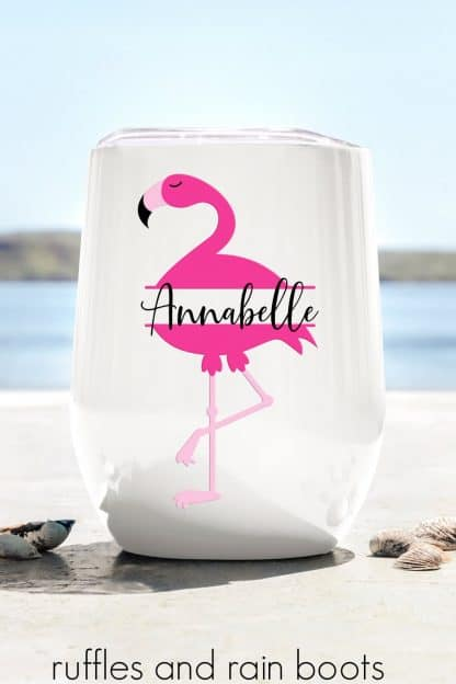 adorable flamingo monogram svg on tumbler with vinyl