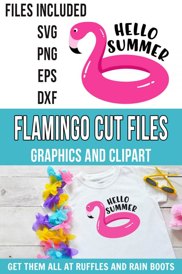 photo collage of adorable flamingo svg for hello summer pool floatie flamingo cartoon jpg with text which reads flamingo cut files graphics and clipart