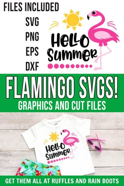 photo collage of adorable flamingo svg for summer hello clipart cut file with text which reads flamingo svgs! graphics and cut files
