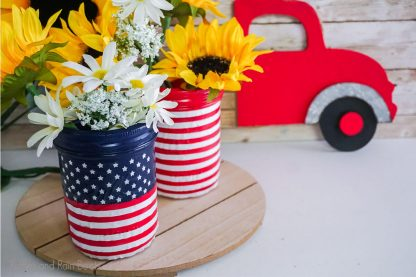 american flag jars made with easy weed cut file for cricut or silhouette
