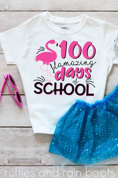 t-shirt on a table featuring a cute creative 100 days of school idea flamingo svg png clipart cut files
