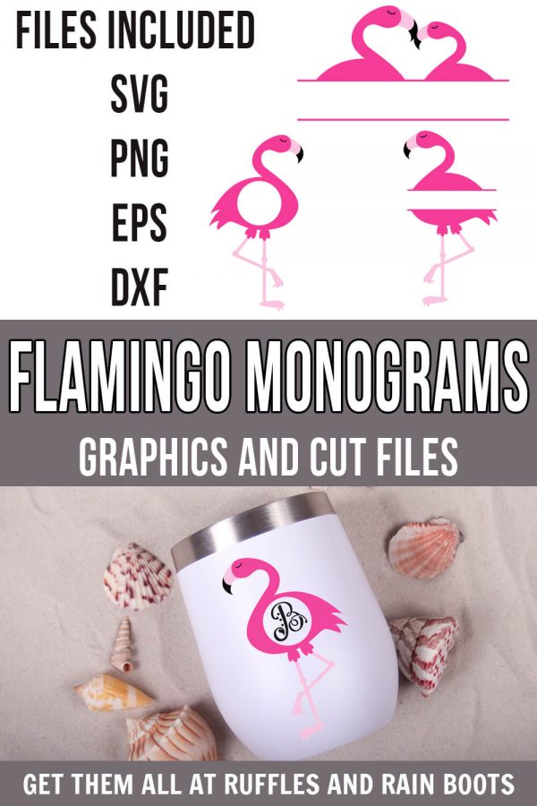 photo collage of cute set of flamingo monogram svg on tumbler with vinyl with text which reads flamingo monograms graphics and cut files