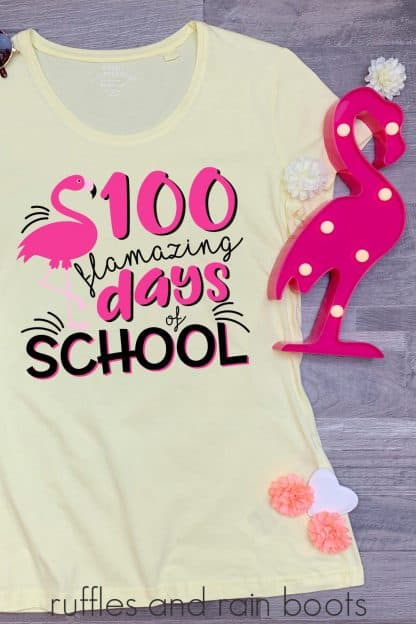 t-shirt featuring flamingo 100 days of school svg for teachers or kids t shirt