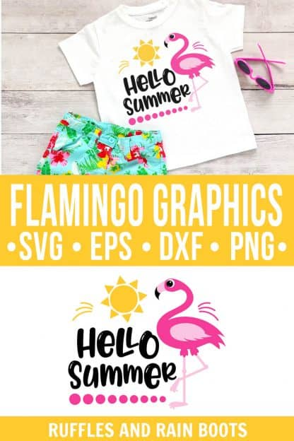 photo collage of flamingo cut file for hello summer svg pool sun with text which reads flamingo graphics svg eps dxf png