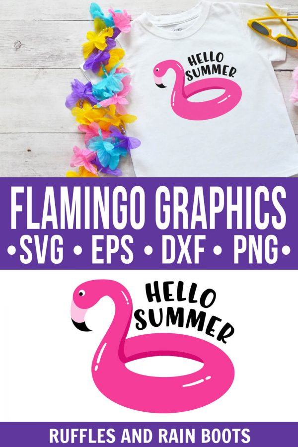 photo collage of flamingo graphics hello summer flamingo pool float svg png jpg with text which reads flamingo graphics svg eps dxf png